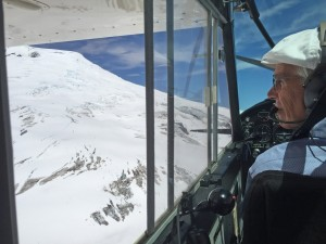 Doug Tompkins piloting his own plane, past the shoulder of the Michinmahuida Volcano in his Pumalin Park in Chile in February 2015.