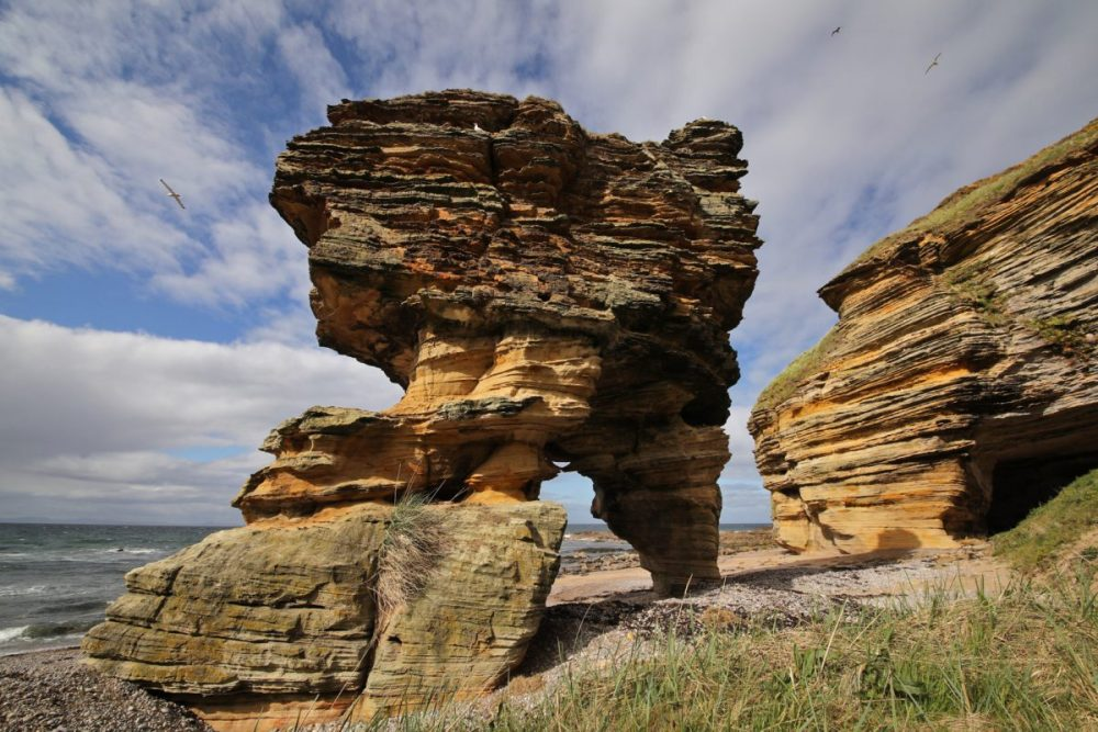 Sandstone coast; Moray Coast; sea stack; rock arch; sandstone cliff;