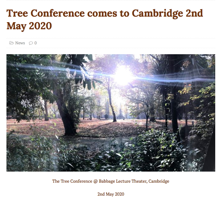 Tree Conference in Cambridge, 2nd May 2020