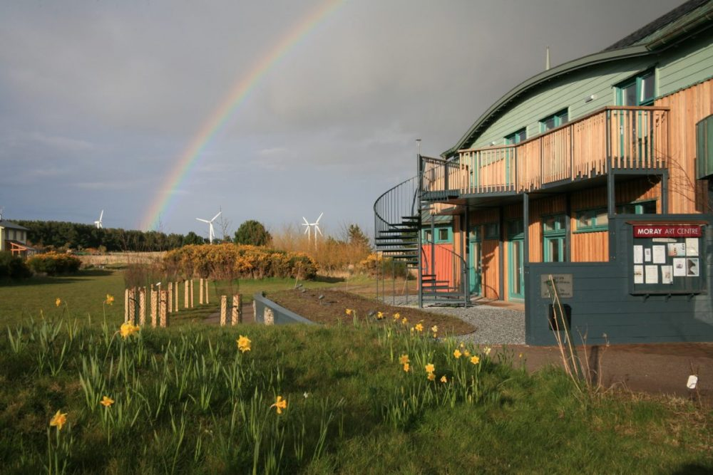 Rainbow, Moray Art Centre, daffodils, spring, Findhorn, wind turbines, Scotland.