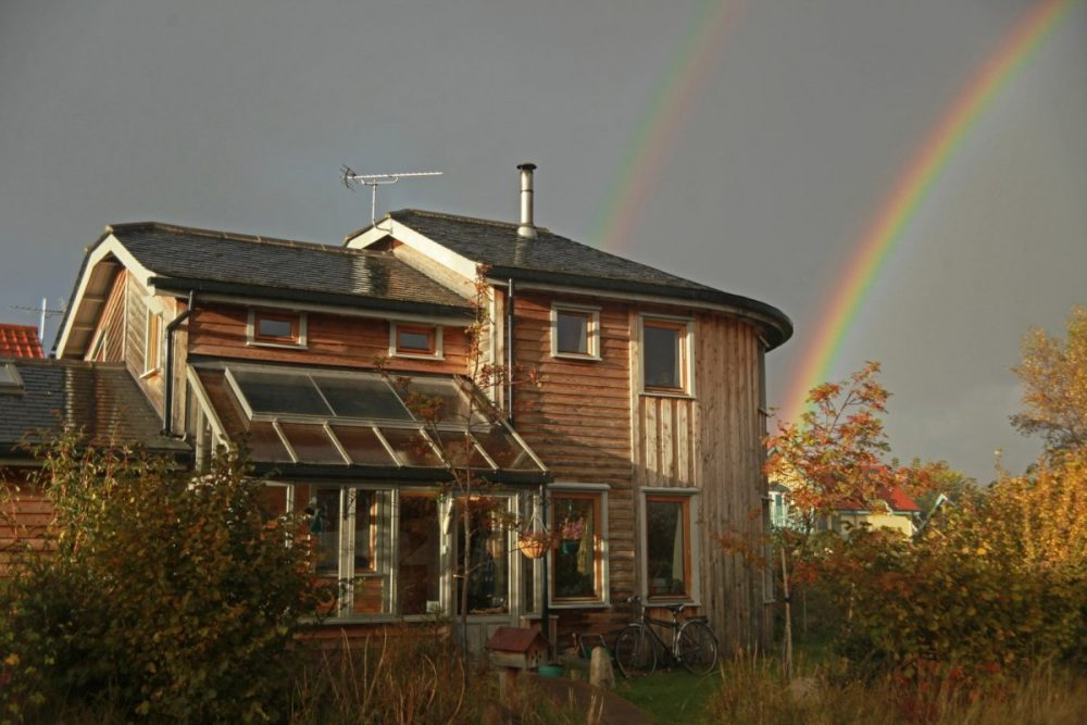Rainbow, double rainbow, Findhorn, Moray, Scotland.
