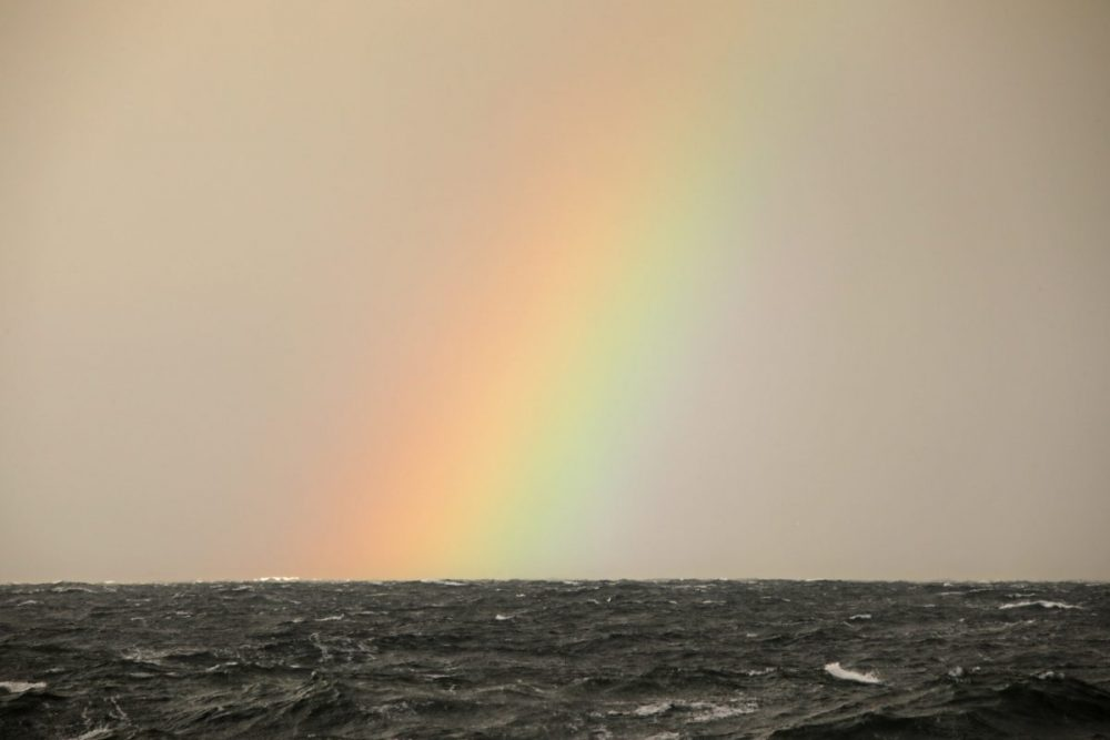 Rainbow, North Sea, Moray coast, Scotland